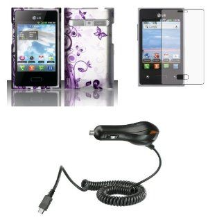LG Optimus Logic L35G / Dynamic L38C   Bundle Pack   Purple Butterfly Flower on Silver Design Case + Atom LED Keychain Light + Screen Protector + Micro USB Car Charger Cell Phones & Accessories