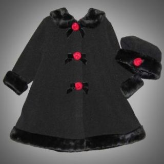 Good Lad   Pete's Partner Toddler Girls 2T 4T 2 Piece BLACK RED ROSETTE FAUX FUR TRIM Fleece Dress Coat/Jacket and Hat Set 4T GLD 16491 16499XF6 Clothing