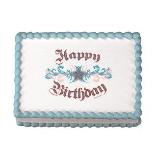 Lucks Edible Image Happy Birthday Tattoo, 12 pk [Misc.]