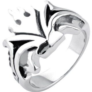 Inox Jewelry Men's 316L Stainless Steel Flame Crown Ring Jewelry