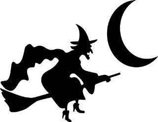 "2"" inches black silhouette of witch on broom and moon halloween design vinyl decal sticker twin pack 2 in 1"