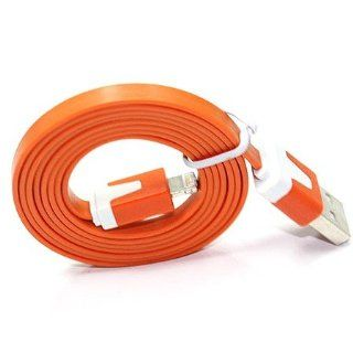 10' FT (Extra Long)Flat Noodle Orange USB Sync Cable Power Cord Charger iPod touch, iPod 5th, Nano 7th, iPad 4 Cell Phones & Accessories