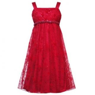 Rare Editions Girls PLUS Size RED SEQUIN BEADED MESH OVERLAY EMPIRE WAIST Special Occasion Wedding Flower Girl Holiday Pageant Party Dress 18.5 RRE 18888H H518888 Clothing