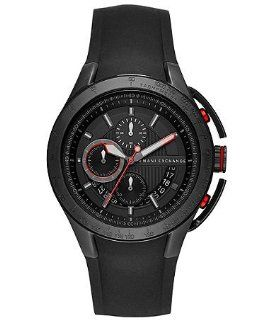 Armani Exchange Chronograph Black Dial Black Silicone Rubber Mens Watch AX1401 Armani Exchange Watches