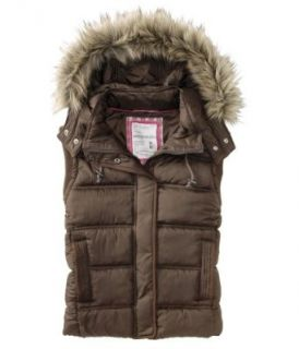 Aeropostale Juniors Faux Fur Trimmed Hooded Puffer Vest   Juniors' Size (Small, Harvest (Brown))