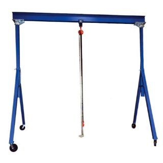 "Bear Claw Adjustable Height Steel Gantry Crane; Capacity (LBS) 6,000; Beam Length 15' ; Beam Height 10""; Under I Beam Range 7' 7"" to 12' 1""; Base Width 78""; Model# BAHS 6 15 12"