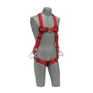 Protecta PRO, 1191381 Fall Protection Full Body Welders Harness, With 3 D Rings, Pass Thru Legs, 420 Pound Capacity, Medium/Large, Red/Black   Fall Arrest Safety Harnesses