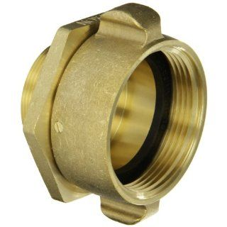 "Dixon Valve RSM25F20T Brass Fire Equipment, Swivel Adapter with Rocker Lug, 2 1/2"" NST (NH) Female x 2"" NPT Male"
