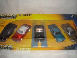 JADA 164 BIG TIME MUSCLE 5 DEEP 1984 FORD FALCON, 1965 FORD MUSTANG, 1965 CHELBY COBRA 427 S/C, 1967 CHEVY CAMARO AND 1971 CHEVY CHEVELLE DIE CAST 5 PACK SET Toys & Games