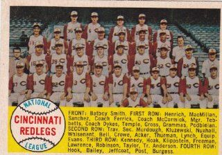 Cincinnati Reds 1958 Topps Baseball Team Card #428 (Frank Robinson) (Vada Pinson) (Ted Kluzewski) (Brooks Lawerence) (Roy McMillan) (Johnny Temple) (Gus Bell) Sports & Outdoors