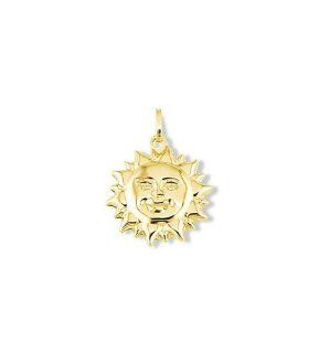 14k Italian Yellow Gold Sun Shine Smile Puffy Pendant Jewelry