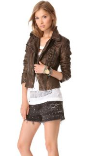 Free People Metallic Faux Leather Jacket