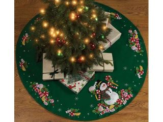 Bucilla 86307 Candy Snowman Tree Skirt Felt Applique Kit 43 in. Round
