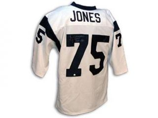 Deacon Jones Signed Rams White Throwback Jersey
