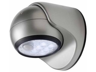 Contemporary Brushed Steel 6 LED Battery Operated Porch Light, Silver