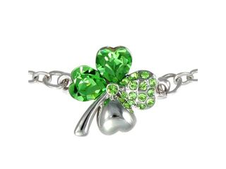 Four Leaf Clover Heart Shaped Swarovski Elements Crystal Rhodium Plated Chain Bracelet   Peridot Green