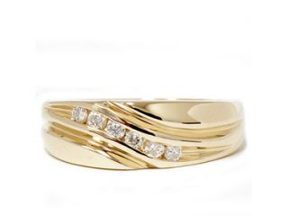 14 Karat Yellow Gold Mens Ring Natural Authentic .25CT Diamond Wedding Band 14K