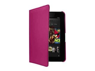 "Kindle Fire Leather Case   Pink PU Leather Rotating Stand Case Cover for Kindle Fire HD 7"" (Swivel Case)"