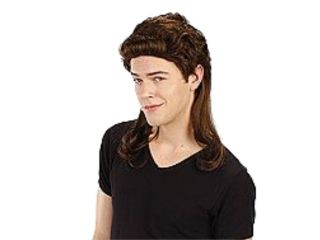 Totally Ghoul Mens Brown Mullet Wig 80s Player Hair