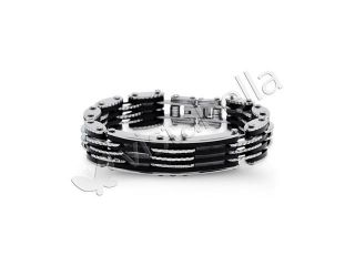 Mens Stainless Steel Rubber Bike Chain Link Bracelet