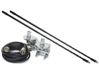 2' Top Loaded Dual CB Antenna with Mirror Mounts & Cable   750 Watt x 2  Black