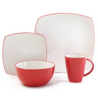 Gibson Home Soho Lounge 16 piece Two tone Red Dinnerware Set