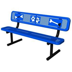 Ultra Play Blue Paws Dog Park Commercial Bench PBARK 940P P6 BLU
